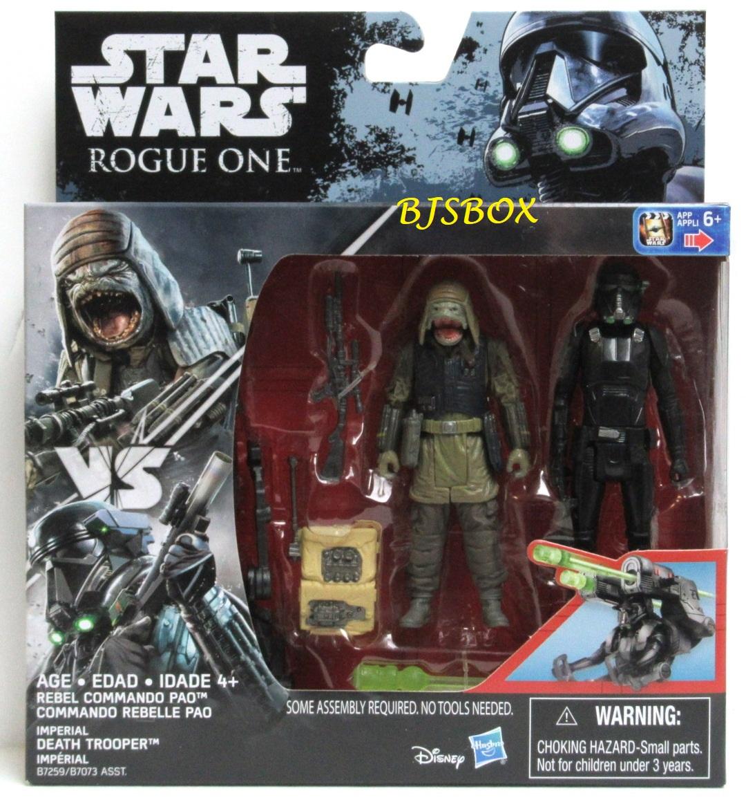 """Nouveau Hasbro 3.75/"""" Star Wars 2Pk Rogue 1 rebel commando Pao Imperial Death Trooper"""